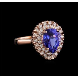 3.45 ctw Tanzanite and Diamond Ring - 14KT Rose Gold