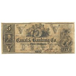 1850's $5 Obsolete New Orleans Bank Note.  Punch Cancelled