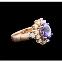 2.08 ctw Tanzanite and Diamond Ring - 14KT Rose Gold