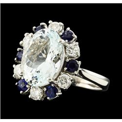 4.96 ctw Aquamarine, Sapphire and Diamond Ring - 14KT White Gold