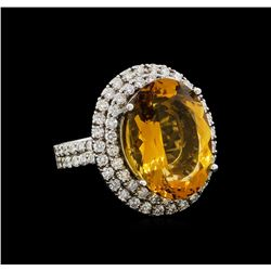 14KT White Gold 11.62 ctw Citrine and Diamond Ring