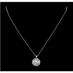 0.58 ctw Diamond and Black Enamel Pendant with Chain - 14KT White Gold
