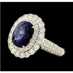 4.33 ctw Sapphire and Diamond Ring - 18KT White Gold