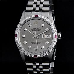 Rolex Stainless Steel Slate Grey Diamond and Ruby DateJust Men's Watch