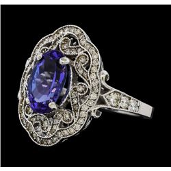 3.52 ctw Tanzanite and Diamond Ring - 14KT White Gold