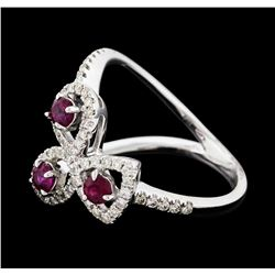 0.34 ctw Ruby and Diamond Ring - 14KT White Gold
