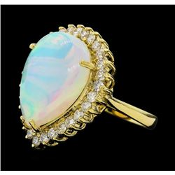 9.60 ctw Opal and Diamond Ring - 14KT Yellow Gold
