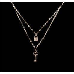 0.06 ctw Diamond Necklace - 14KT Rose Gold