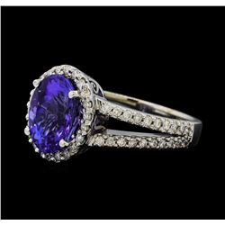 3.63 ctw Tanzanite and Diamond Ring - 14KT White Gold