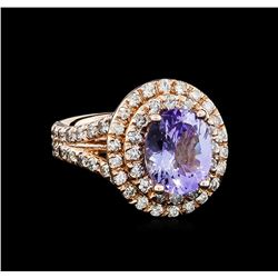 3.94 ctw Tanzanite and Diamond Ring - 14KT Rose Gold