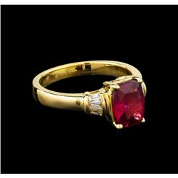 1.90 ctw Rubellite and Diamond Ring - 14KT Yellow Gold