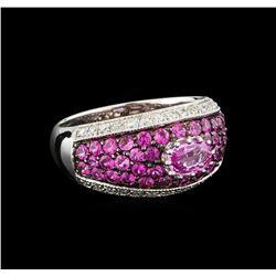 1.64 ctw Pink Sapphire and Diamond Ring - 10KT White Gold