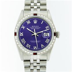 Rolex Stainless Steel Purple Roman Diamond and Ruby DateJust Men's Watch