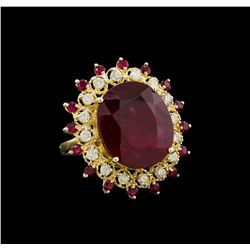 24.22 ctw Ruby and Diamond Ring - 14KT Yellow Gold