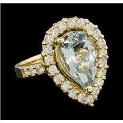 4.08 ctw Aquamarine and Diamond Ring - 14KT Yellow Gold