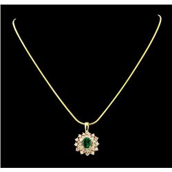 1.60 ctw Emerald and Diamond Pendant With Chain - 14KT Yellow and Rose Gold