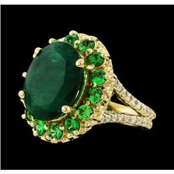 6.08 ctw Emerald, Tsavorite and Diamond Ring - 14KT Yellow Gold