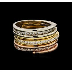 14KT Tri Color Gold 0.50 ctw Diamond Stacked Ring