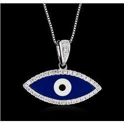 18KT White Gold 0.20 ctw Diamond Evil Eye Pendant With Chain