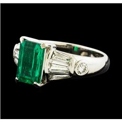 2.14 ctw Emerald and Diamond Ring - Platinum