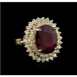 12.41 ctw Ruby and Diamond Ring - 14KT Yellow Gold