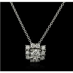 14KT White Gold 0.64 ctw Diamond Pendant With Chain