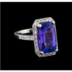 6.75 ctw Tanzanite and Diamond Ring - 14KT White Gold
