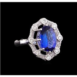 14KT White Gold 6.74 ctw Tanzanite and Diamond Ring