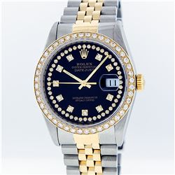 Rolex Two-Tone Blue String Diamond VVS DateJust Men's Watch