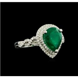 3.17 ctw Emerald and Diamond Ring - 18KT White Gold