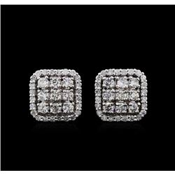 0.92 ctw Diamond Earrings - 14KT White Gold
