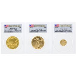 2016 PCGS MS70 Gold Eagle 5 Coin Set
