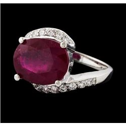 8.21 ctw Ruby and Diamond Ring - 14KT White Gold