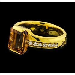 Imperial Topaz and Diamond Ring - 18KT Yellow Gold