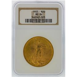1925 NGC MS64 $20 St. Gaudens Double Eagle Gold Coin