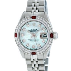 Rolex Stainless Steel Blue MOP Diamond and Ruby DateJust Ladies Watch