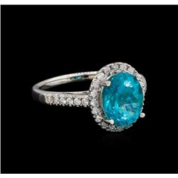 3.17 ctw Apatite and Diamond Ring - 14KT White Gold
