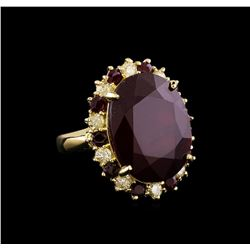 25.40 ctw Ruby and Diamond Ring - 14KT Yellow Gold