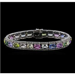 28.38 ctw Multi Color Sapphire and Diamond Bracelet - 18KT White Gold