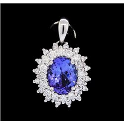 2.31 ctw Tanzanite and Diamond Pendant - 18KT White Gold