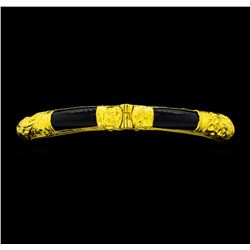 Onyx Bangle Bracelet with Safety Chain - 22KT Yellow Gold