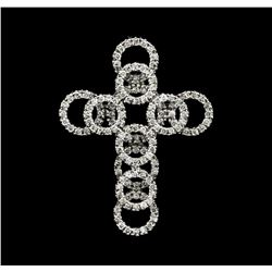 1.13 ctw Diamond Cross Pendant -14KT White Gold