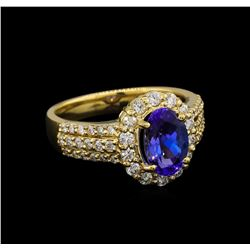 1.94 ctw Tanzanite and Diamond Ring - 14KT Yellow Gold
