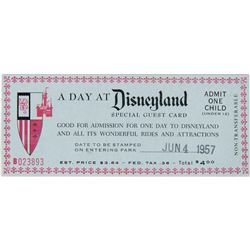 """""""A Day at Disneyland"""" Special Child's Admission Ticket."""