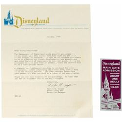 Disneyland Survey and Guest Admission Ticket.