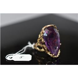 20 ct Synthetic Amethyst Ring - 14K Yellow Gold, 13.5 grams