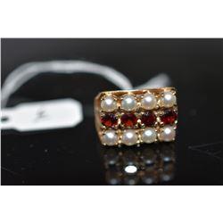 Garnet & Pearl Ring - Row of Garnets Approx .40 ct, Dbl Row of 3.5mm Cultured Pearls, 14K, 5.2 g