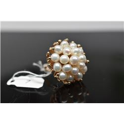 Pearl Cluster Ring - 19 Freshwater Pearls, 14K Yellow Gold, 13 grams