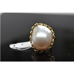 White Cultured Blister Pearl Ring, 19 x 22.5mm, 14K Yellow Gold, 6.4 grams