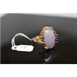 Lavender Jadeite Jade Ring - 14x19mm Cabochon, 3 Amethysts Approx .30 ct, 14K Gold, 8.9 grams